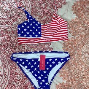 NWT American flag bikini